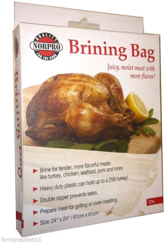 These heavy-duty plastic brining bags from Norpro can accommodate up to 25 pounds of turkey, chicken, beef, shrimp, or pork before grilling or roasting in the oven.