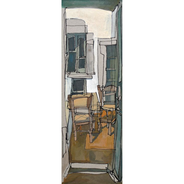A usually bright and airy courtyard. Gouache on cardboard. Dimensions  15 x 45 cm