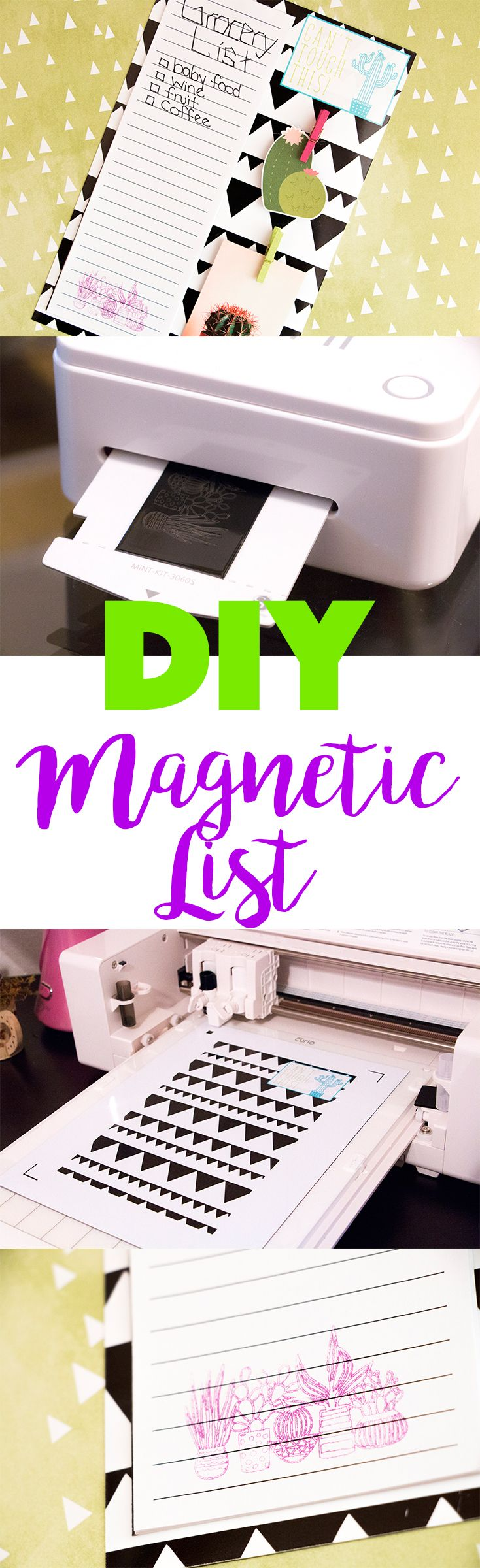 Make your own magnetic grocery list  using printable magnetic paper and your Mint!