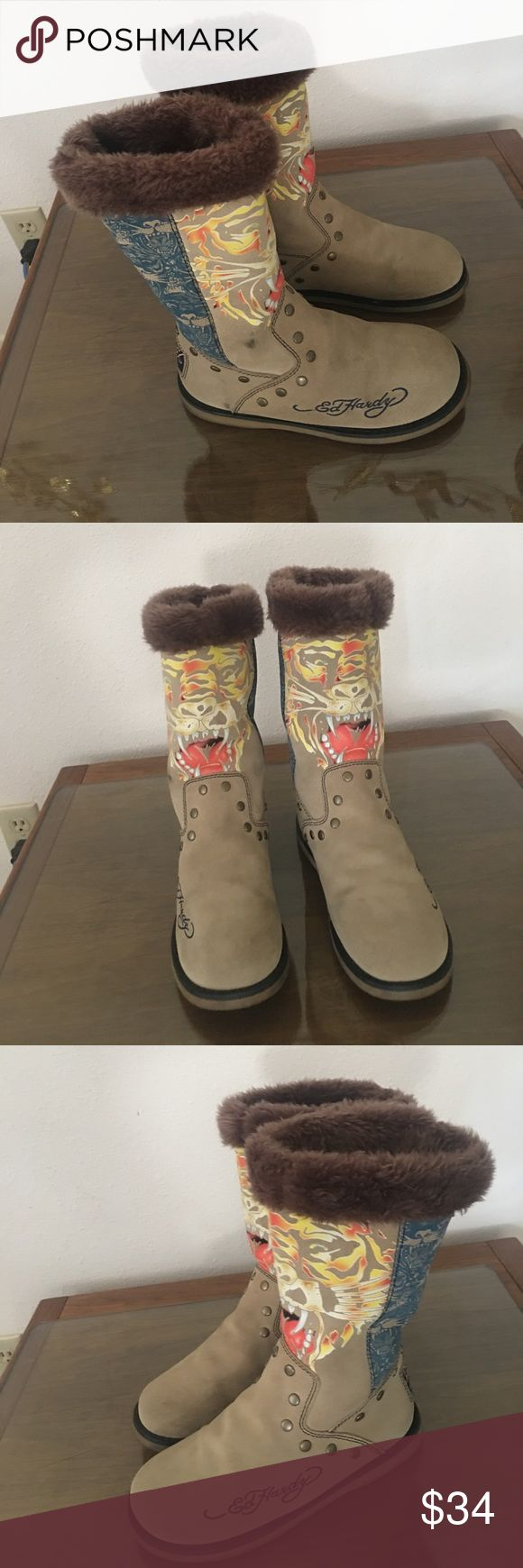 Don Ed Hardy Boots Don ED Hardy Boot's With Lions on front of Cream suede leather, insides are brown fur very soft, Size 39, signs of wear their is a few marks on both boots otherwise in Good Condition, Very comfortable and Cute. Don Ed Hardy Shoes Winter & Rain Boots