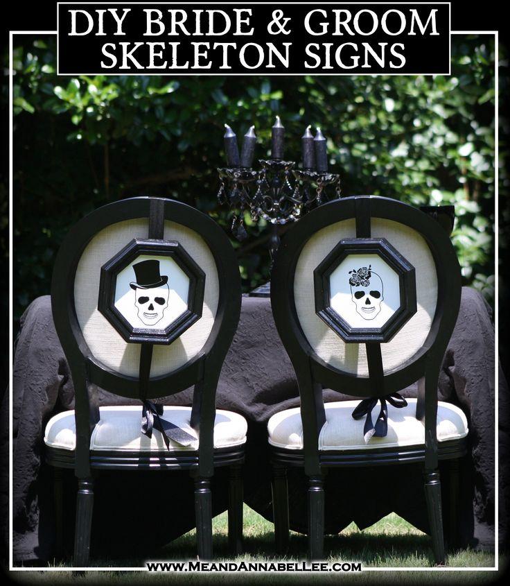 DIY Skull Bride & Groom Signs - Cricut Tutorial - Halloween Wedding Reception Decor - Gothic | Black & White Wedding - www.MeandAnnabelLee.com