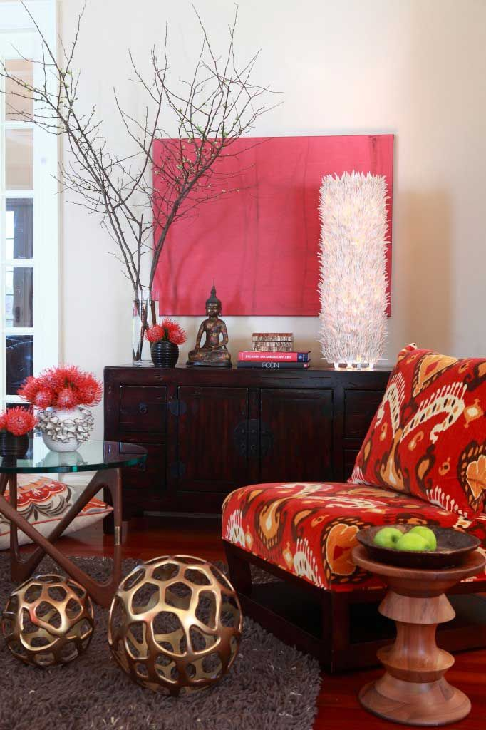 Ikat also makes a stunning fabric for furnishings.  This ikat chair adds exactly the right blend of color and pattern to accent an India-inspired decor.