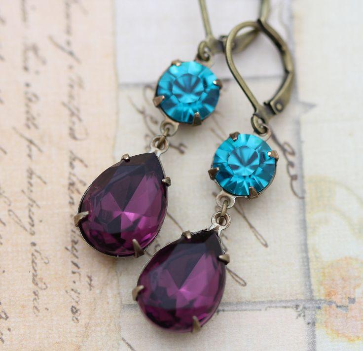 Bridesmaids Jewelry Vintage Earrings Purple Amethyst Blue