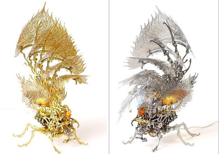 Талантливый скульптор из Сеула (Южная Корея) U-Ram Choe известен работами, сочетающими в себе равные доли механического конструирования и резного искусства. Последние скульптуры автора под названием Silver Insecta Lamp и Gold Insecta Lamp выполнены в виде красивейших насекомых.