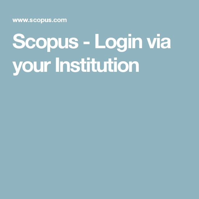Scopus - Login via your Institution