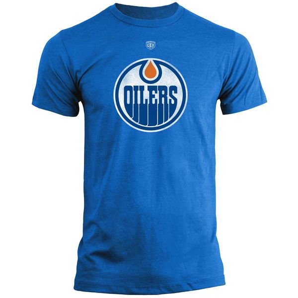 Edmonton Oilers Old Time Hockey Old Briggs Distressed Logo T-Shirt – Navy Blue - $23.99