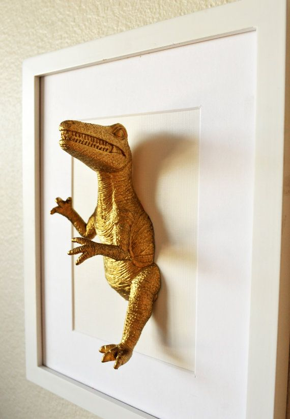 Dinosaur artwork/ gold dinosaurs/ 8x10/ mixed media/ office space art/ plastic taxidermy/