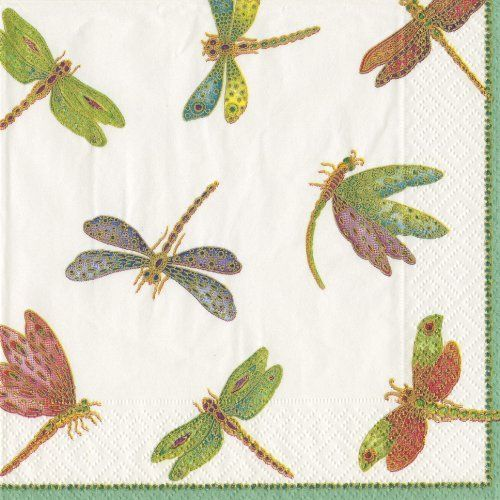 Entertaining With Caspari Dragonflies Paper Luncheon Napkins, Pack Of 20 By  Caspari. $8.09.