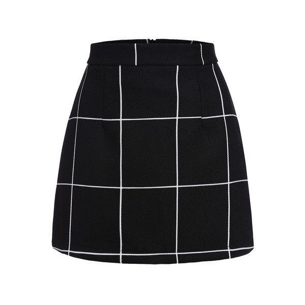 SheIn(sheinside) Plaid Mini Skirt (£6.82) ❤ liked on Polyvore featuring skirts, mini skirts, bottoms, saias, faldas, black, tartan miniskirts, short mini skirts, stretchy mini skirts and short a line skirt