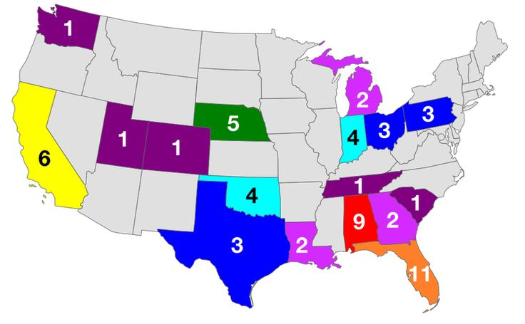 NCAAF national titles map