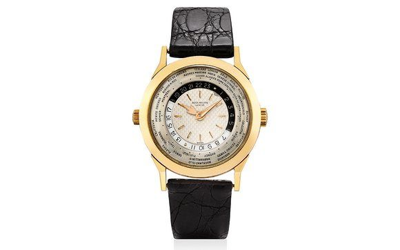 Lot 373 - Patek Philippe Two-Crown World Timer Ref. 2523/1 in Pink Gold.