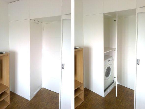 Les 25 meilleures id es concernant salle de bains de - Meuble superposition lave linge seche linge ...