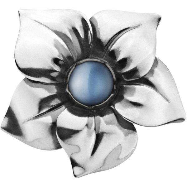 Regitze Overgaard FLOWER ring - sterling silver with blue moonstone ($425) ❤ liked on Polyvore featuring jewelry, rings, accessories, flowers, blue, blue moonstone ring, georg jensen ring, blue ring, moonstone jewelry and flower jewelry