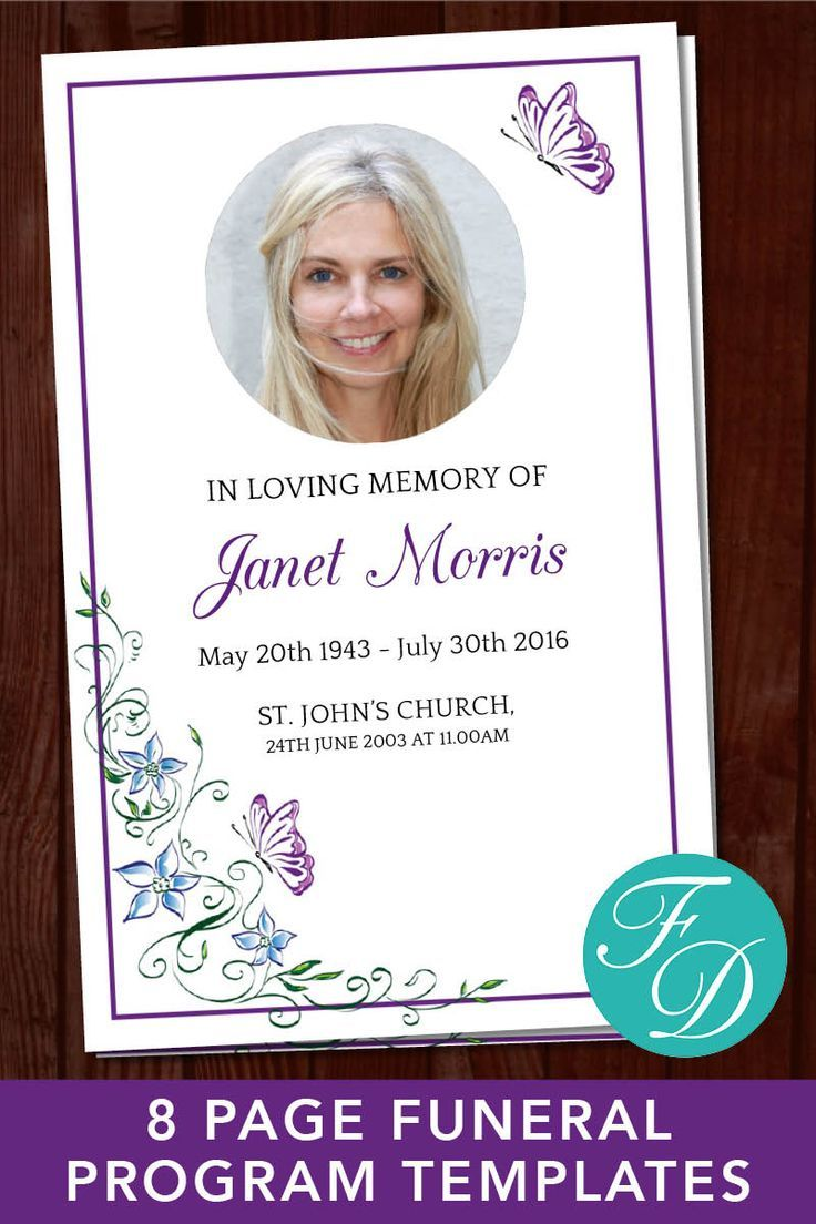 Butterfly Funeral Program Template 8 Page Butterfly Obituary Template Butterfly Celebration Of Life Program Memorial Program 0213 Funeral Program Template Funeral Program Program Template