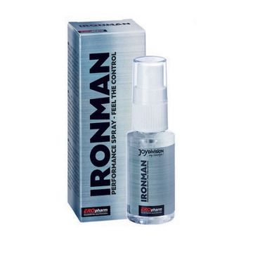 Lo spray ritardante Ironman aumenta l'elasticità del pene e prolunga la durata del rapporto. Spruzzare 2-3 volte sul glande prima del rapporto, una volta assorbito iniziare il rapporto. Dopo l'assorbimento si può usare preservativo e/o lubrificante. Per verificare presenza allergie, spruzzare sotto l'ascella, qualora si arrossasse, non usare lo spray. Dopo l'apertura consumare entro 6 mesi.