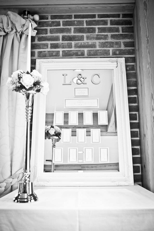 Mirror design wedding tableplan handfinished with bride and groom intials