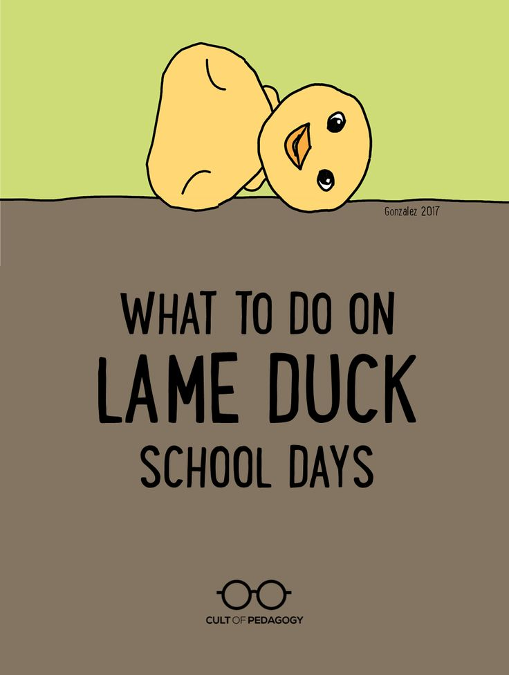 What to Do on Lame Duck School Days - When you're still technically in school, but the conditions just aren't great for teaching, what do you do to make the most of the time? Here's a list of ideas.