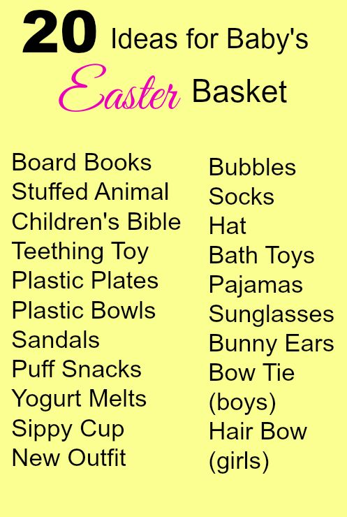 27 best easter basket ideas images on pinterest gift ideas 20 ideas for babys easter basket easter basket baby negle Choice Image