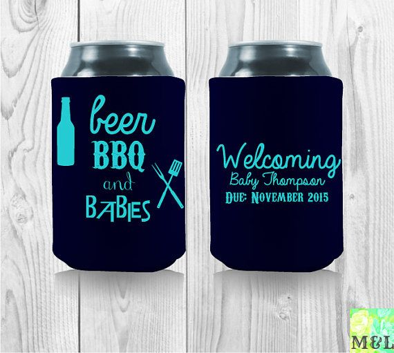 Baby Shower Koozie Favors ~ Beer bbq and babies customized baby shower koozies by