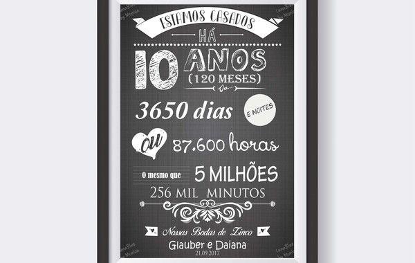 Chalkboard Bodas De Zinco Arte Digital Bodas De Prata Bodas