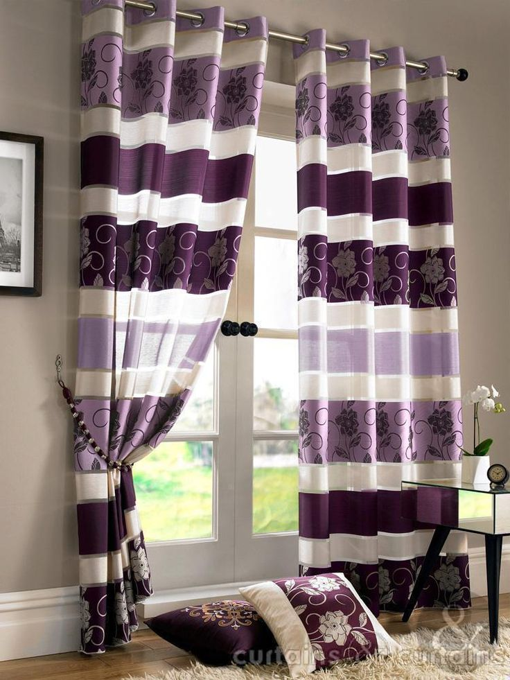 Jasmine Floral Embroidered Aubergine Purple Voile Eyelet Curtain Curtains Uk