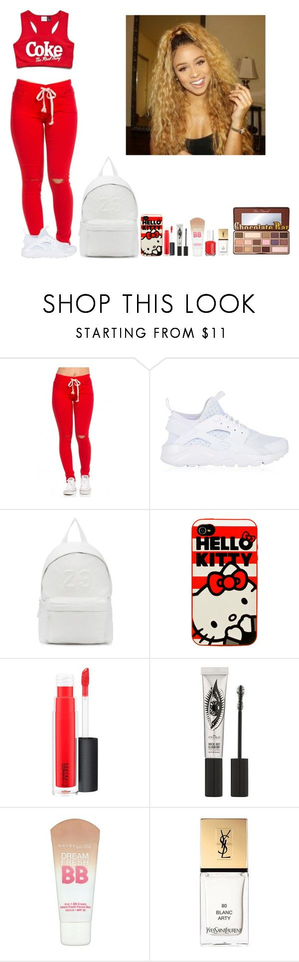 """""""-Glo Queen"""" by thegloup-reina on Polyvore featuring NIKE, Joshua's, Hello Kitty, MAC Cosmetics, Eyeko, Maybelline, Yves Saint Laurent, Too Faced Cosmetics and Anaïs"""