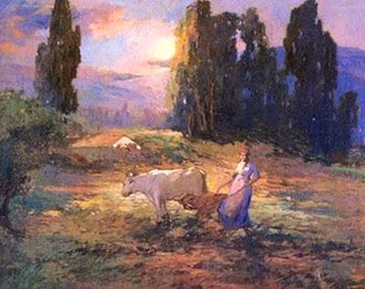 Atardecer campesino.  Pintura de Arturo Gordon.