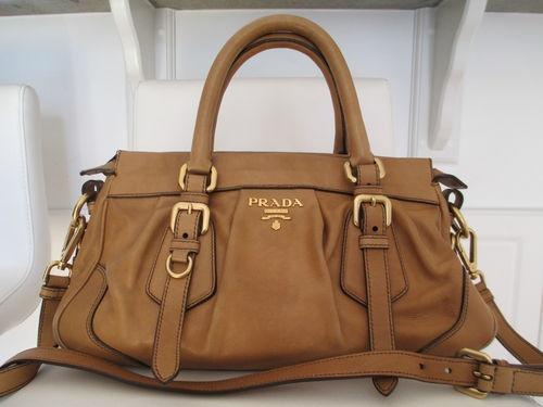 Prada Soft Light Brown (Tan) Leather Satchel Bag/ Handbag | eBay ...