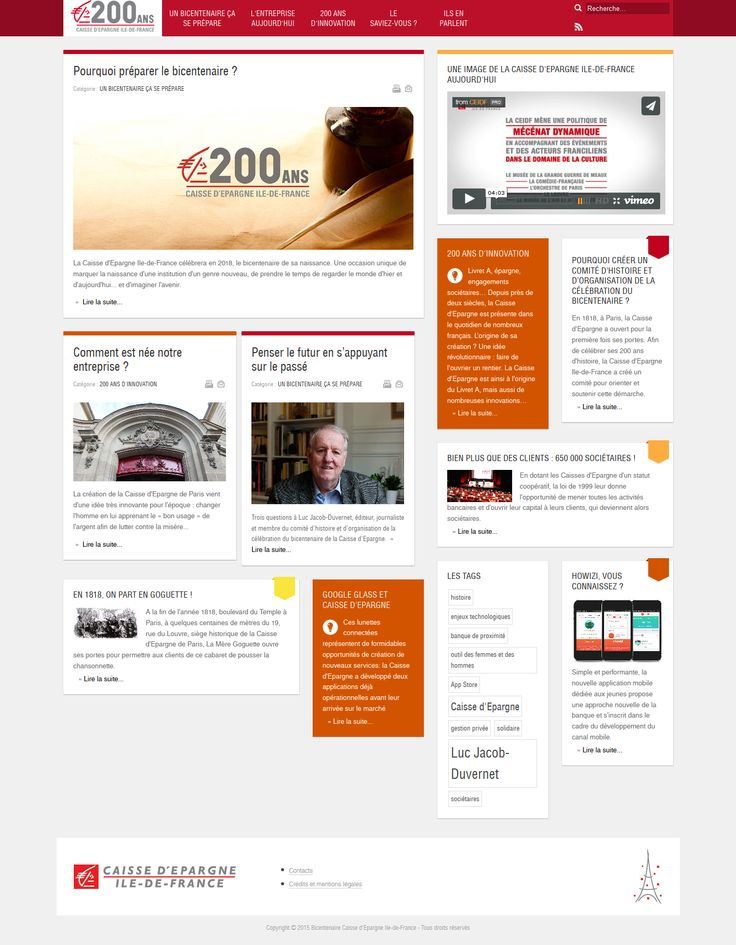 Site du bicentenaire de la Caisse d'Epargne Ile-de-France #webdesing #responsive #CEIDF