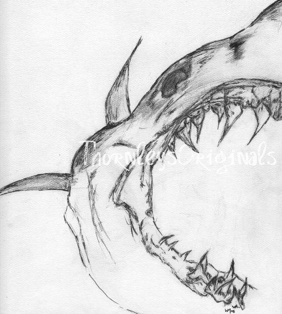 представляет челюсти рисунок карандашом что вам