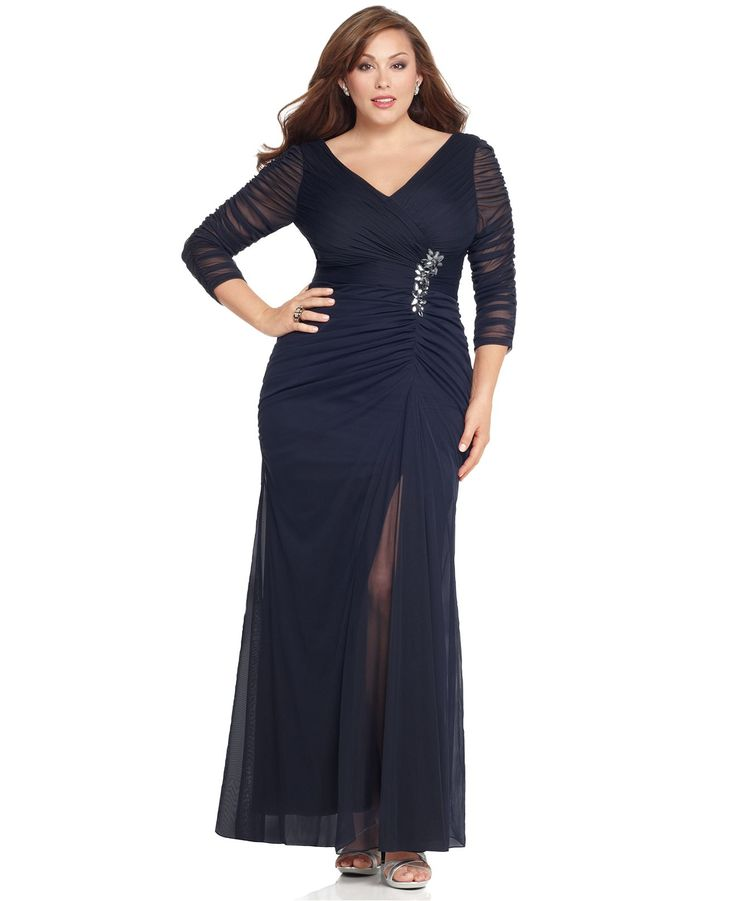 Adrianna Papell Plus Size Dress, Three Quarter Sleeve V-Neck Ruched Evening Gown - Plus Size Dresses - Plus Sizes - Macy's