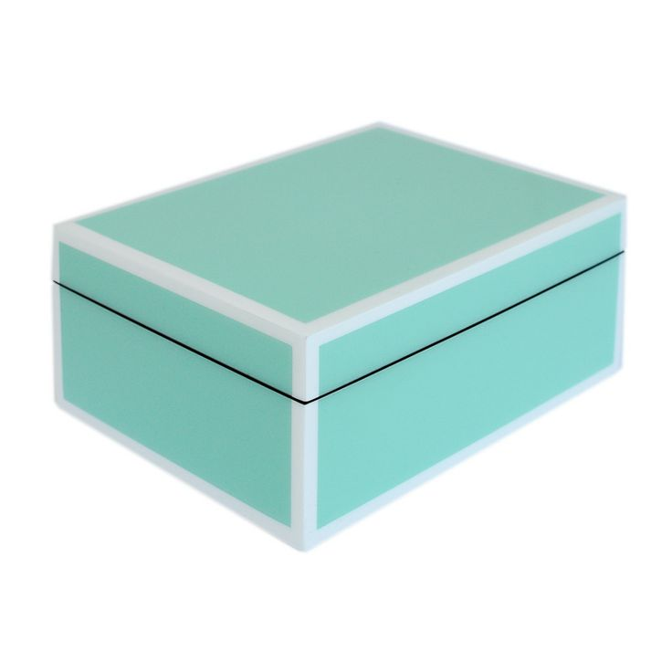 Caixa em laca Azul Tiffany / Branco