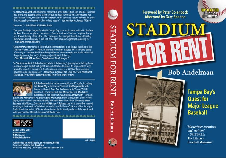 Download the 2015 e-book update edition of Stadium For Rent: Tampa Bay's Quest for MLB by Bob Andelman for the Amazon Kindle for just $1.99!  http://mrmediabooks.com/sports/stadium-for-rent-tampa-bays-quest-for-major-league-baseball-2nd-edition-2015-by-bob-andelman/