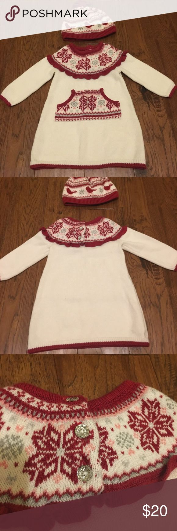 Gymboree Sweater Dress & Hat These are both in fabulous condition. The dress is 6-12 months & the hat is 2-3T I still used the hat on my daughter with the dress.  It actually covered her ears quite nicely because it was a little big.  The set comes from a smoke/pet free home. Gymboree Dresses