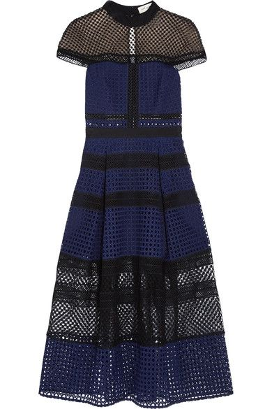 Navy and black guipure lace, black crochet-lace Partially concealed hook and zip fastening at back 100% polyester; lining: 100% polyamide  Hand wash