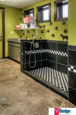 Contemporary Mud Room with Daltile Plaza Nova Black Shadow 12 in. x 24 in. Porcelain Floor and Wall Tile, Concrete floors