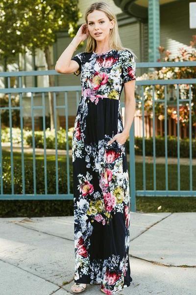 299bbf7cab5 GOZON Women s Hidden Pocket Floral Short Sleeve Maxi Dress – GOZON Boutique