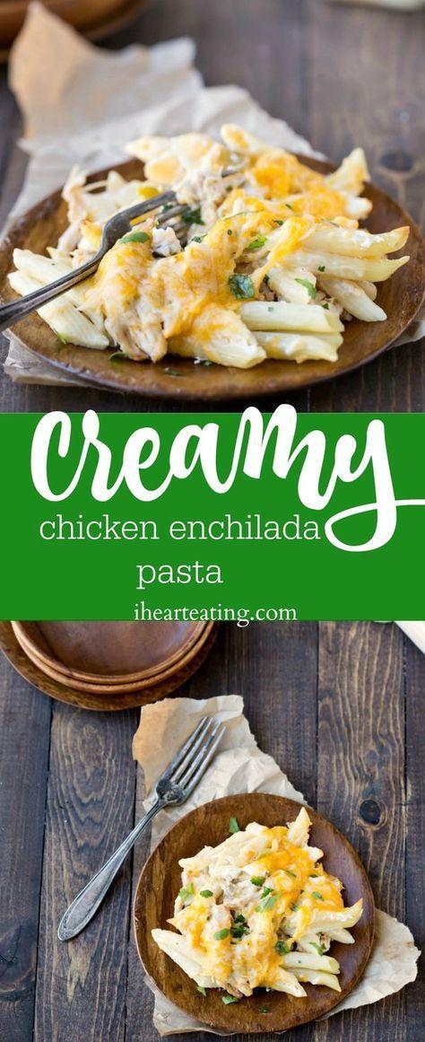 Creamy Chicken Enchilada Pasta Recipe - creamy pasta dinner. No cream soup needed for the sauce!