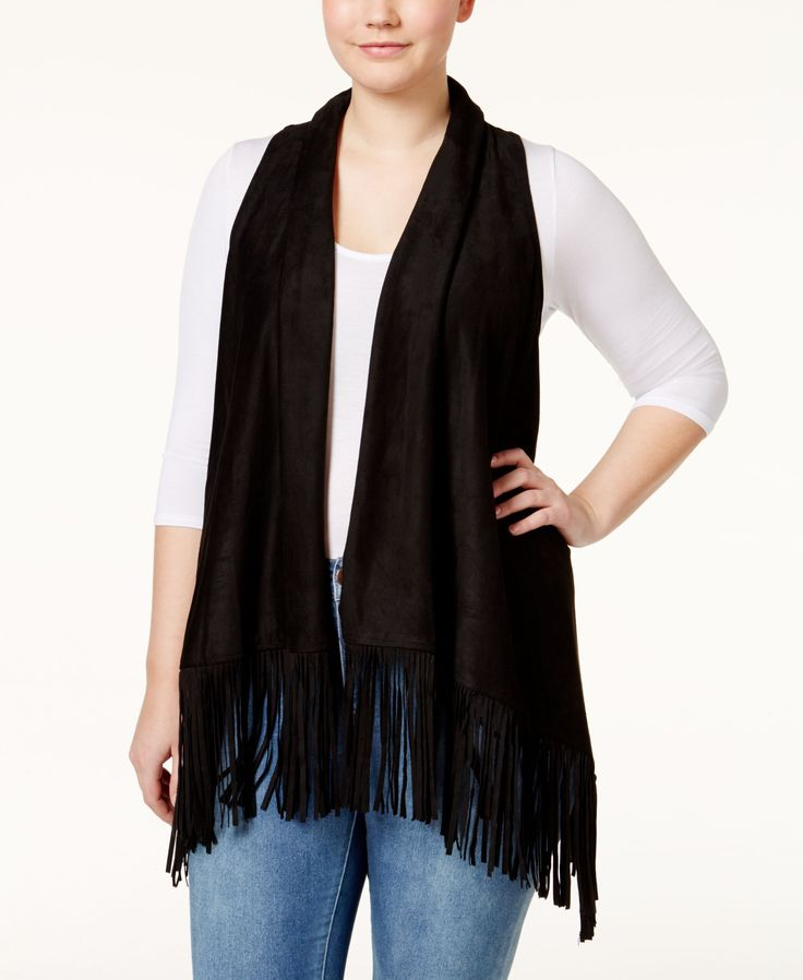 American Rag Plus Size Faux-Suede Fringe Vest, Only at Macy's