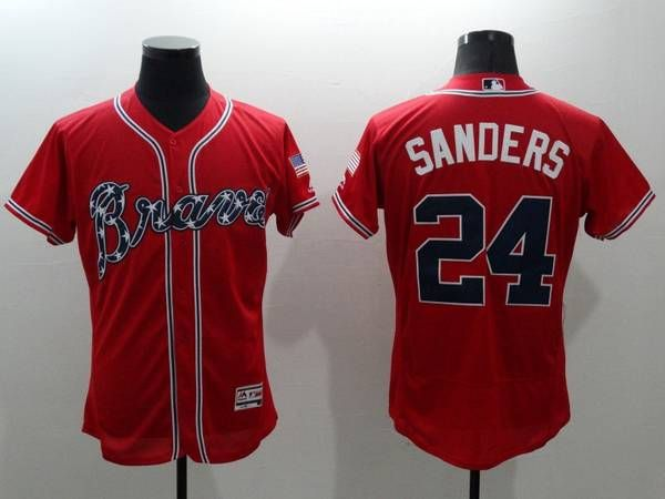 Men's Atlanta Braves #24 Deion Sanders Retired Red 2016 Flexbase Majestic Baseball Jersey