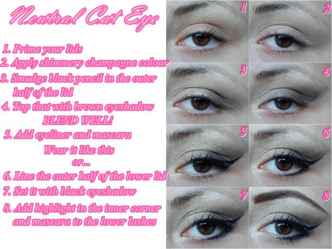 neutral cat eye step by step tutorial | Trying out Makeup ...