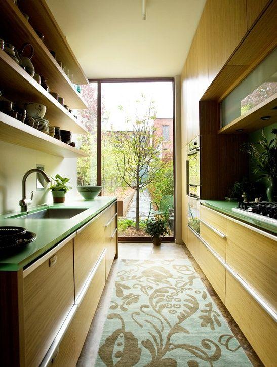 Asian Kitchen with Undermount sink, Flush, Safavieh Soho Light Blue Area Rug, U-shaped, Open kitchen shelving, Glass counters