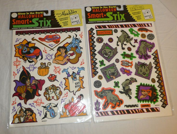 Lot of 2 Vtg Disney Halloween Sticker Sets Glow in the Dark Lion King Aladdin  #SmartStix