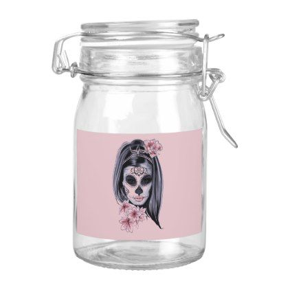 Woman skeleton mask food label - halloween decor diy cyo personalize unique party