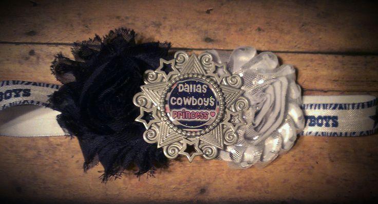 """Dallas Cowboys princess"" foe headband with detachable shabby flower clip made by Creative Creations"