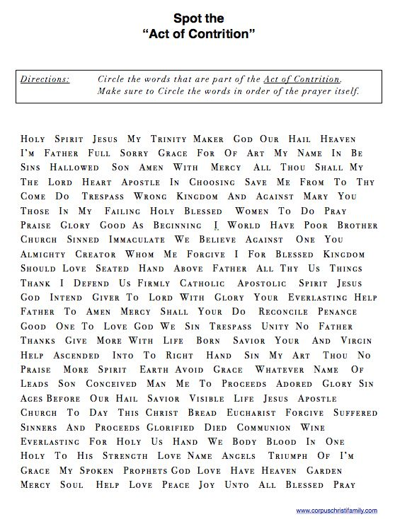 spot the  u0026quot act of contrition u0026quot  worksheet       corpuschristifamily com  pages  blog posts r