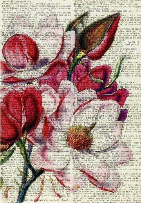 This is so beautiful, great idea to get dictionary and use watercolours, fine liner or paint to create on top of it.