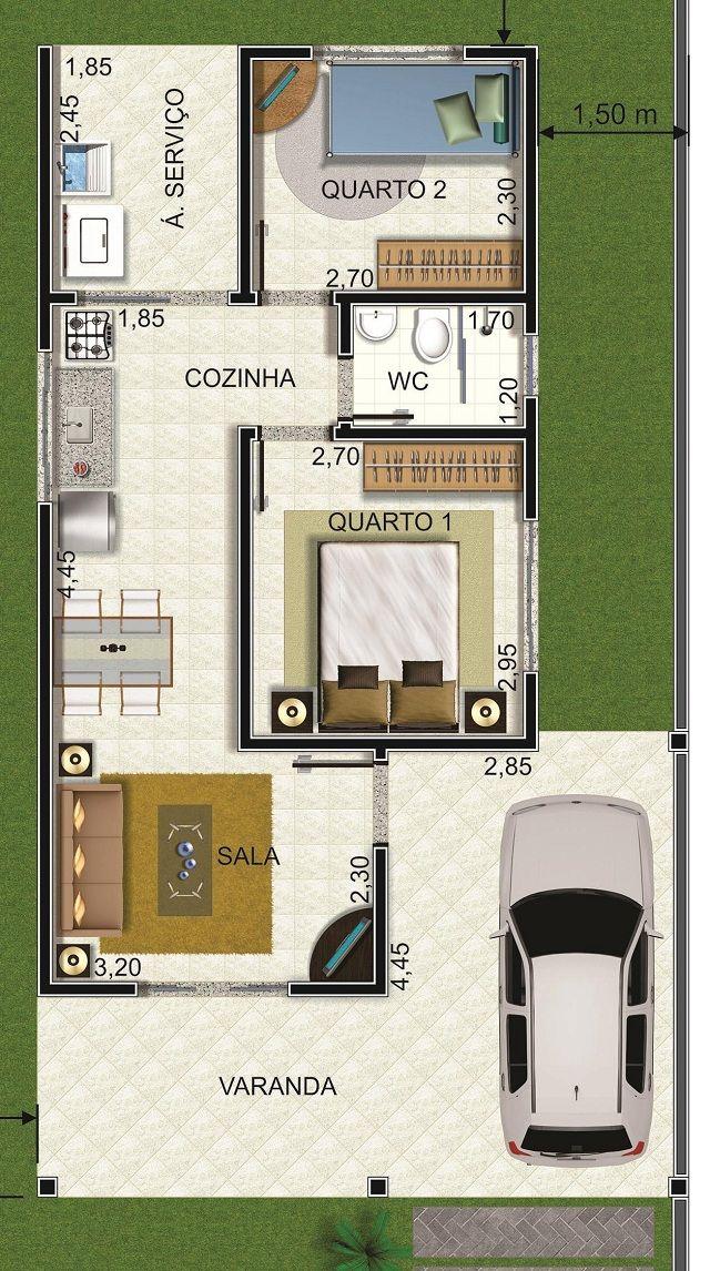 Plano de casa con cochera y dos dormitorios casas for Casas modernas pequenas de dos plantas