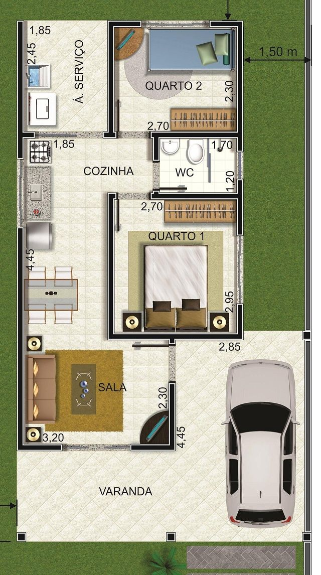 Plano de casa con cochera y dos dormitorios casas for Planos para casas pequenas