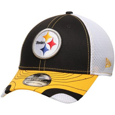 Men's New Era Black/White Pittsburgh Steelers Tumbled Neo 39THIRTY Flex Hat